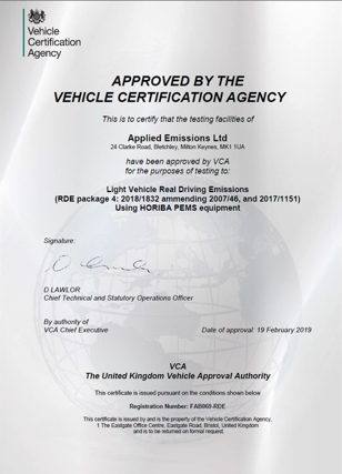 Approved by the Vehicle Certification Agency